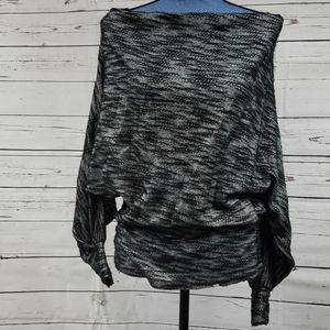 NWT Two Tone Black Dropped Shoulder Blouse